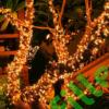 Kép 5/9 - Napelemes 300 LED-es meleg fehér dekorációs fényfüzér, kerti égősor