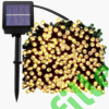 Kép 2/9 - Napelemes 300 LED-es meleg fehér dekorációs fényfüzér, kerti égősor