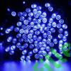 Kép 2/7 - Napelemes 300 LED-es kék dekorációs fényfüzér, kerti égősor
