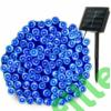 Kép 3/8 - Napelemes 100 LED-es kék dekorációs fényfüzér, kerti égősor