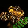 Kép 1/6 - Arany gömb LED fényfüzér