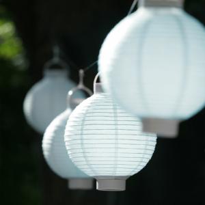Világító led lampion 20 cm-es, 2 db elemmel, 5 db készlet