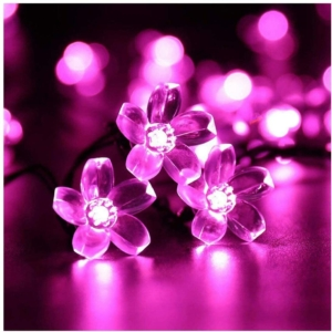 Napelemes Led cseresznyevirág fényfüzér, rózsaszín színű, kültéri