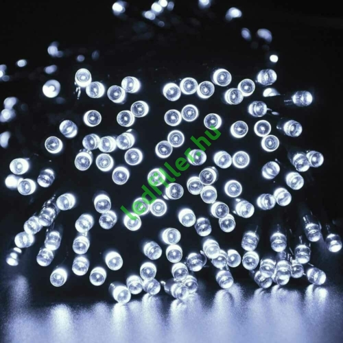 Napelemes 100 LED-es hideg fehér dekorációs fényfüzér, kerti égősor