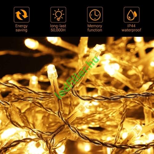 500 LED-es meleg fehér fényfüzér (8 funkciós), 100 méter