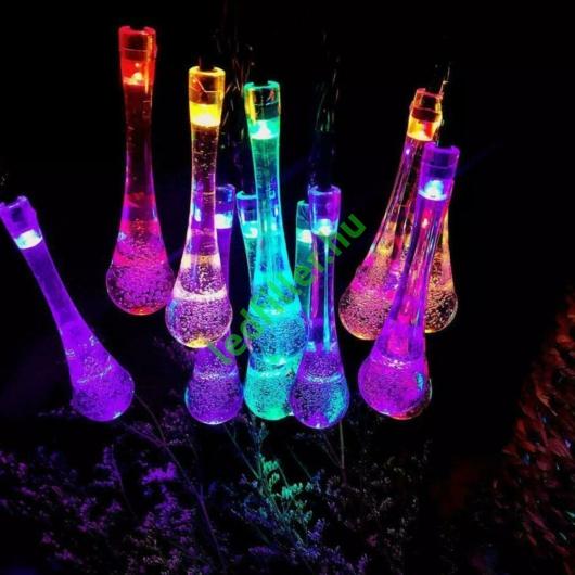 Napelemes LED fényfüzér, vízcsepp alakú, színes