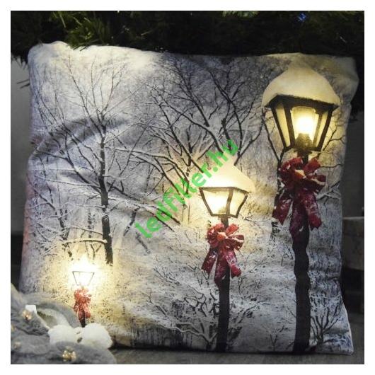 Karácsonyi plüss díszpárna beépített LED világítással, Karácsonyi világítás, elemes