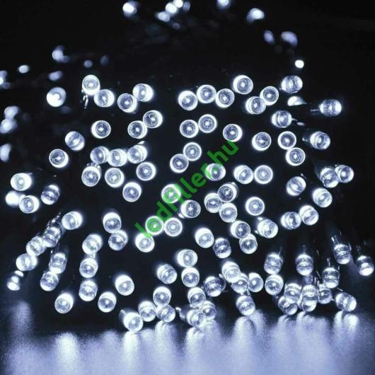 Napelemes 300 LED-es hideg fehér karácsonyi fényfüzér, kerti égősor