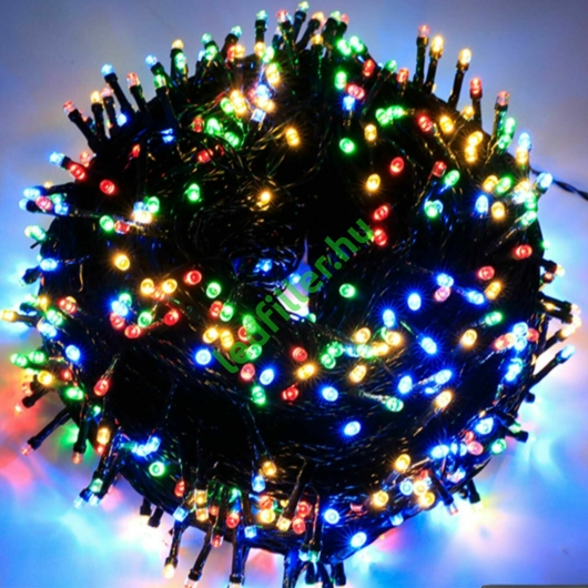 Napelemes 50 LED-es színes karácsonyi fényfüzér, kerti égősor