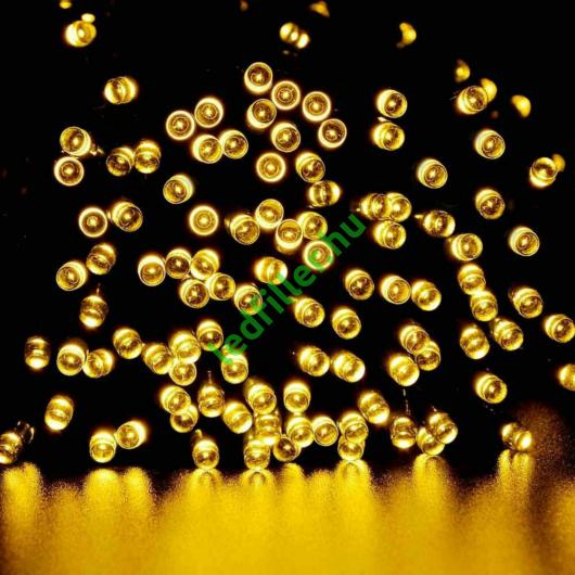 Napelemes 300 LED-es meleg fehér karácsonyi fényfüzér, kerti égősor