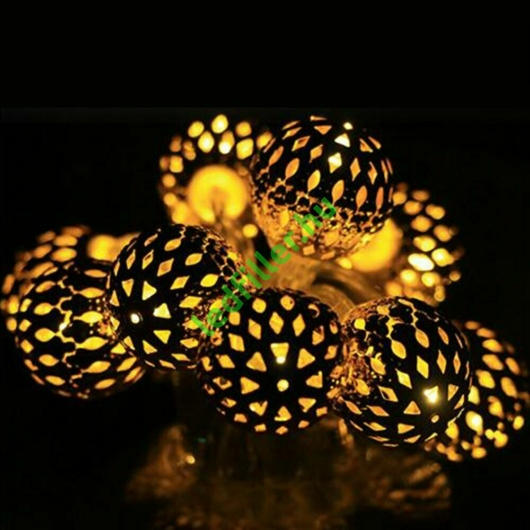 Arany gömb LED fényfüzér