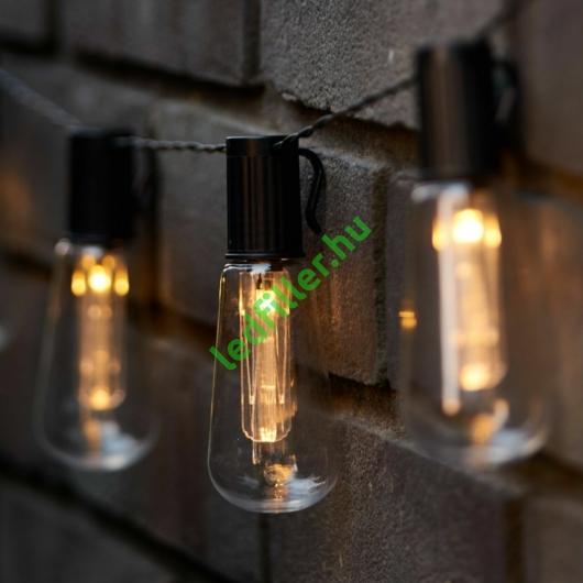 Napelemes 10 Ledes Edison izzó fényfüzér, meleg fehér