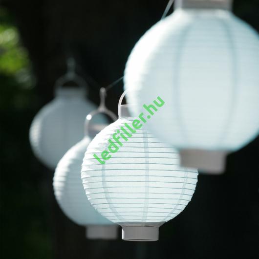 Világító led lampion 20 cm-es, 2 db elemmel, 10 db készlet