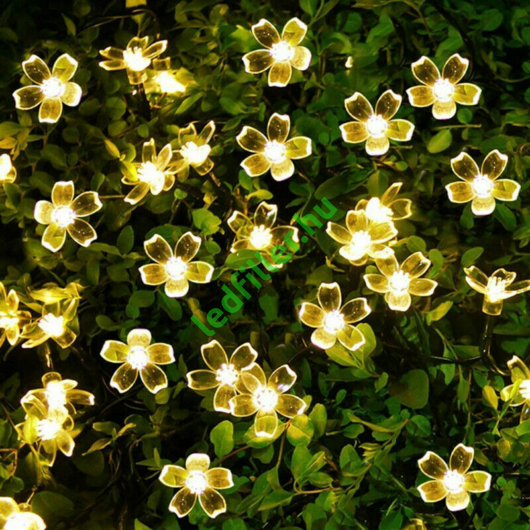 Napelemes Led cseresznyevirág fényfüzér, melegfehér, kültéri