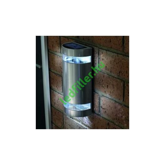 Napelemes led fali világítás rozsdamentes acél, félhenger alakú